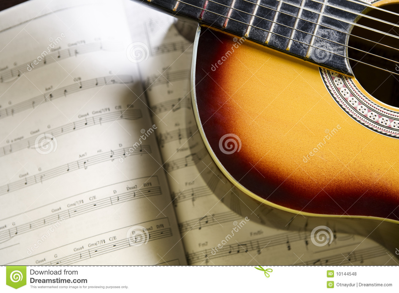 Classic Guitar And Music Chords Stock Photo Image Of Hobby Book