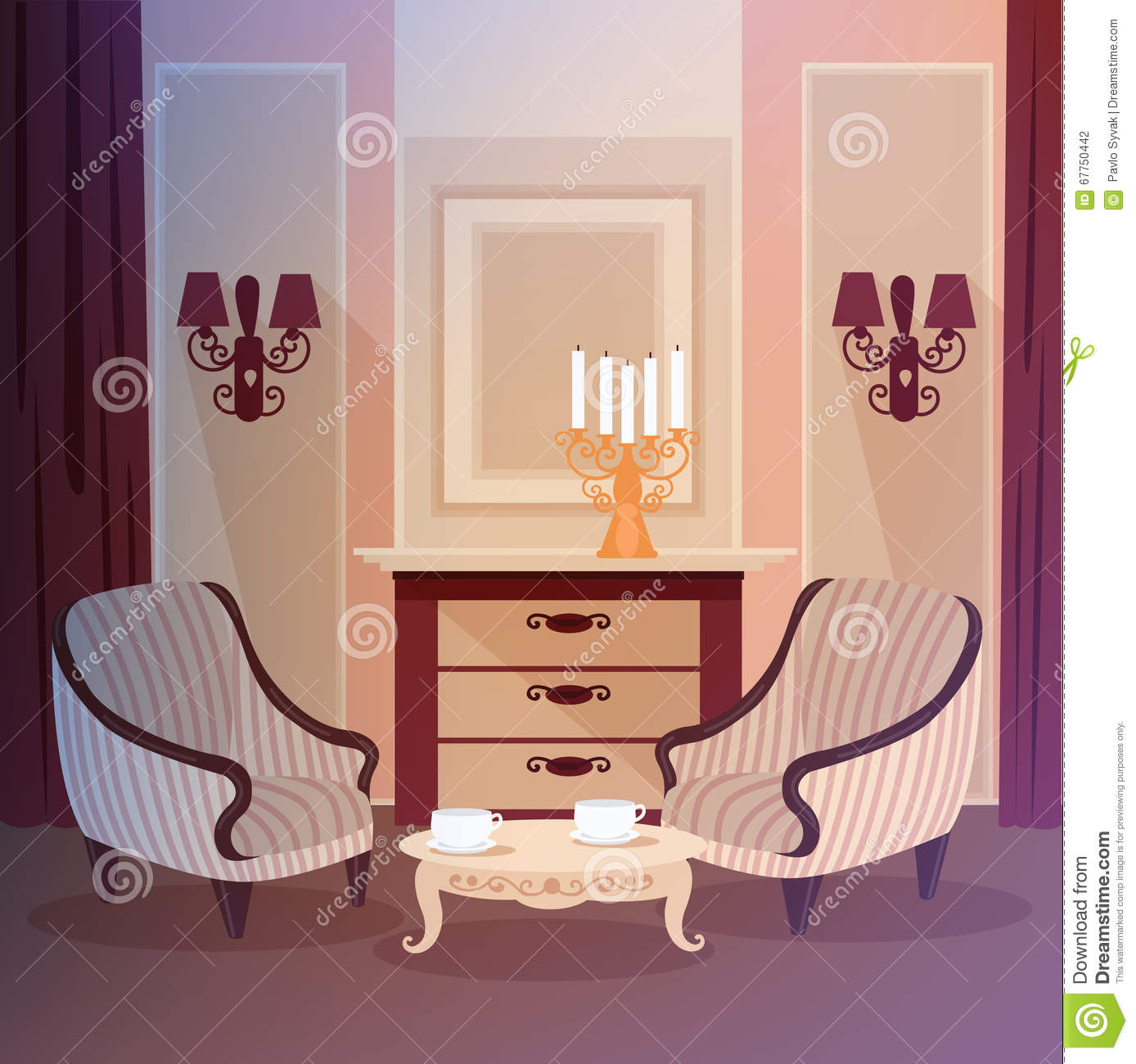 Classic home interior stock image cartoondealercom for Sweet home 3d living room furniture