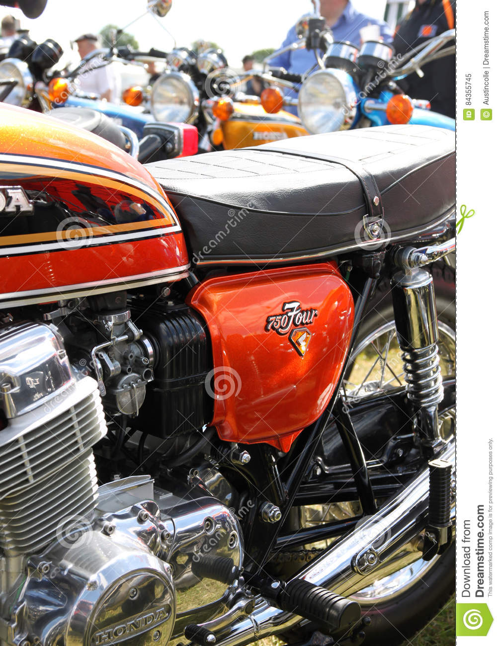 Classic Honda Cb 750 Four In Flame Orange Editorial Image Image Of