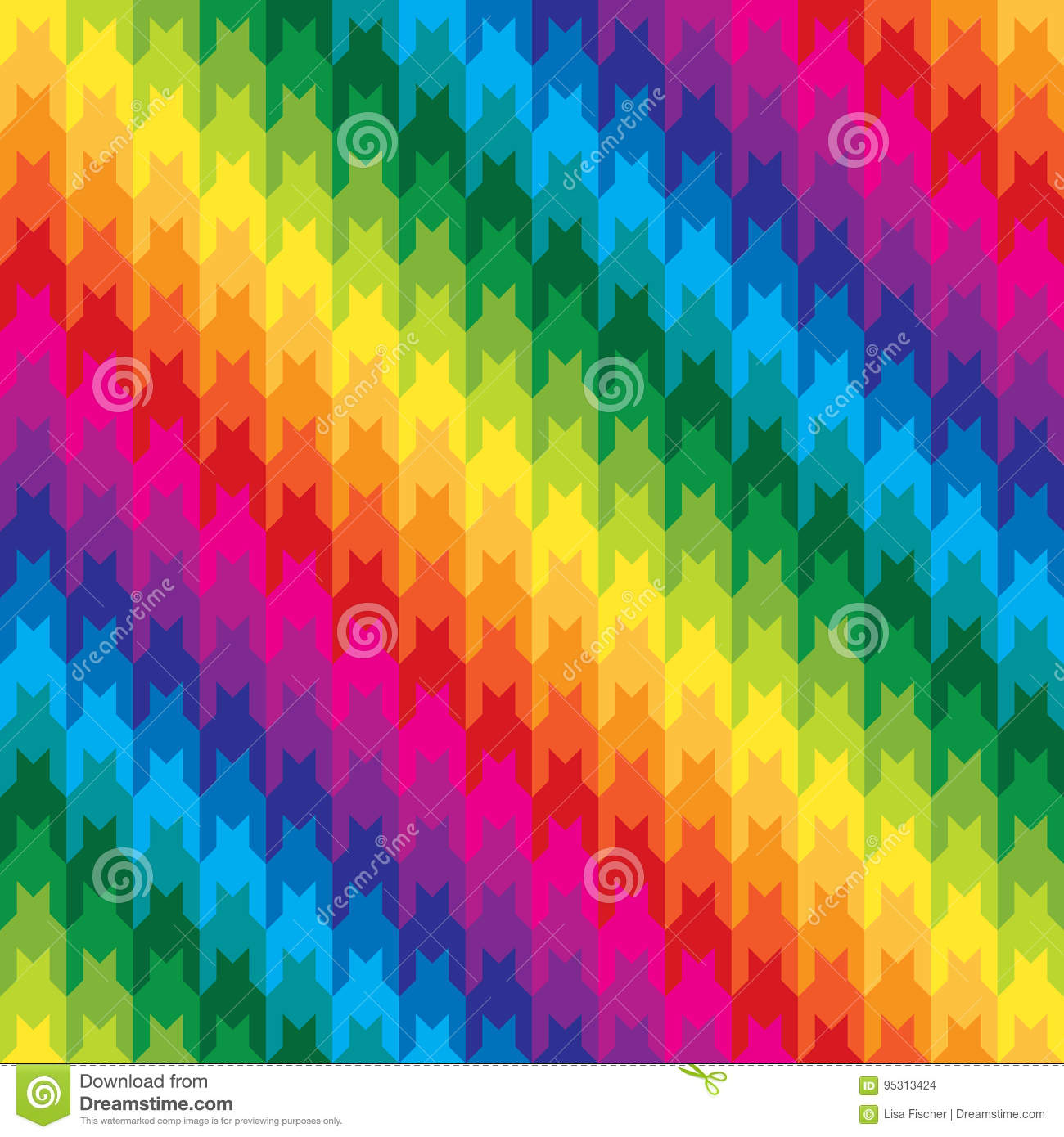 Classic Hounds Tooth Pattern in Rainbow Colors