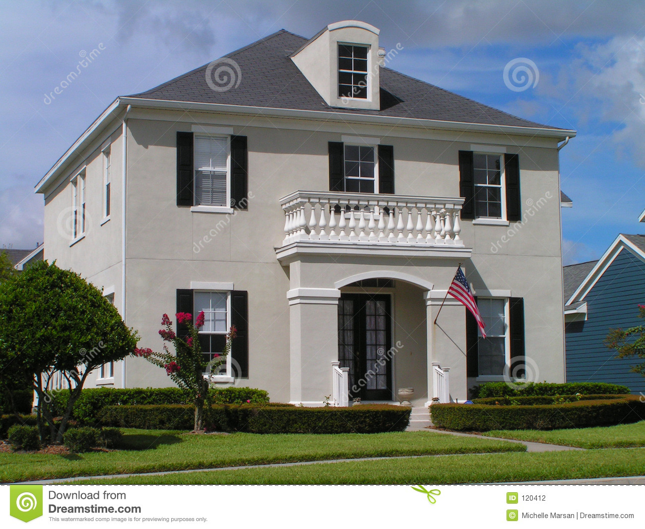 Classic house stock photo image of blue freedom for American classic realty
