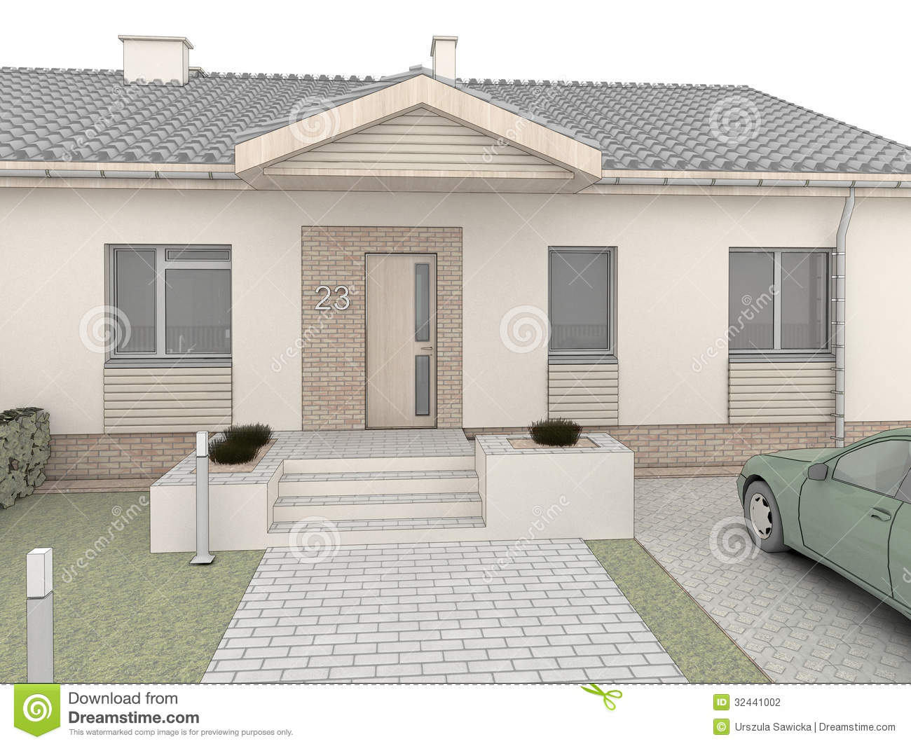 Classic House Design. Front Side. Stock Photography - Image: 32441002