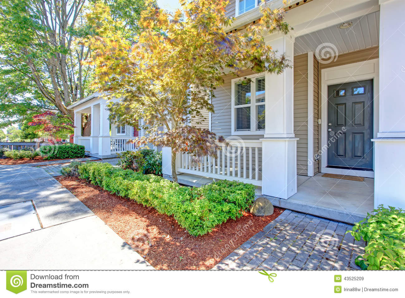 Classic House Exterior Entrance Porch Stock Image