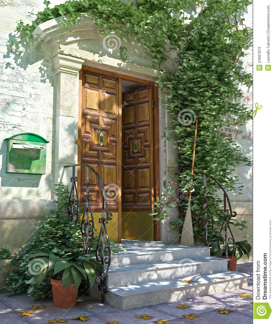 Classic house front door with stairs stock image image for Classic house fronts
