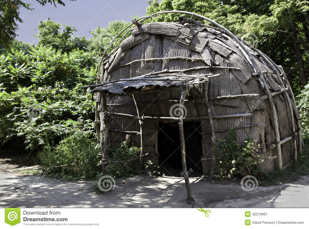 Classic Hut Used By The Native American Wampanoag Tribe At