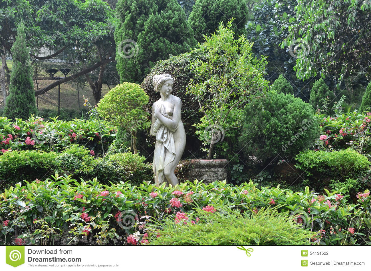 Download Classic Image Garden Statues A Little Girl In Vintage Style Stock  Photo   Image Of
