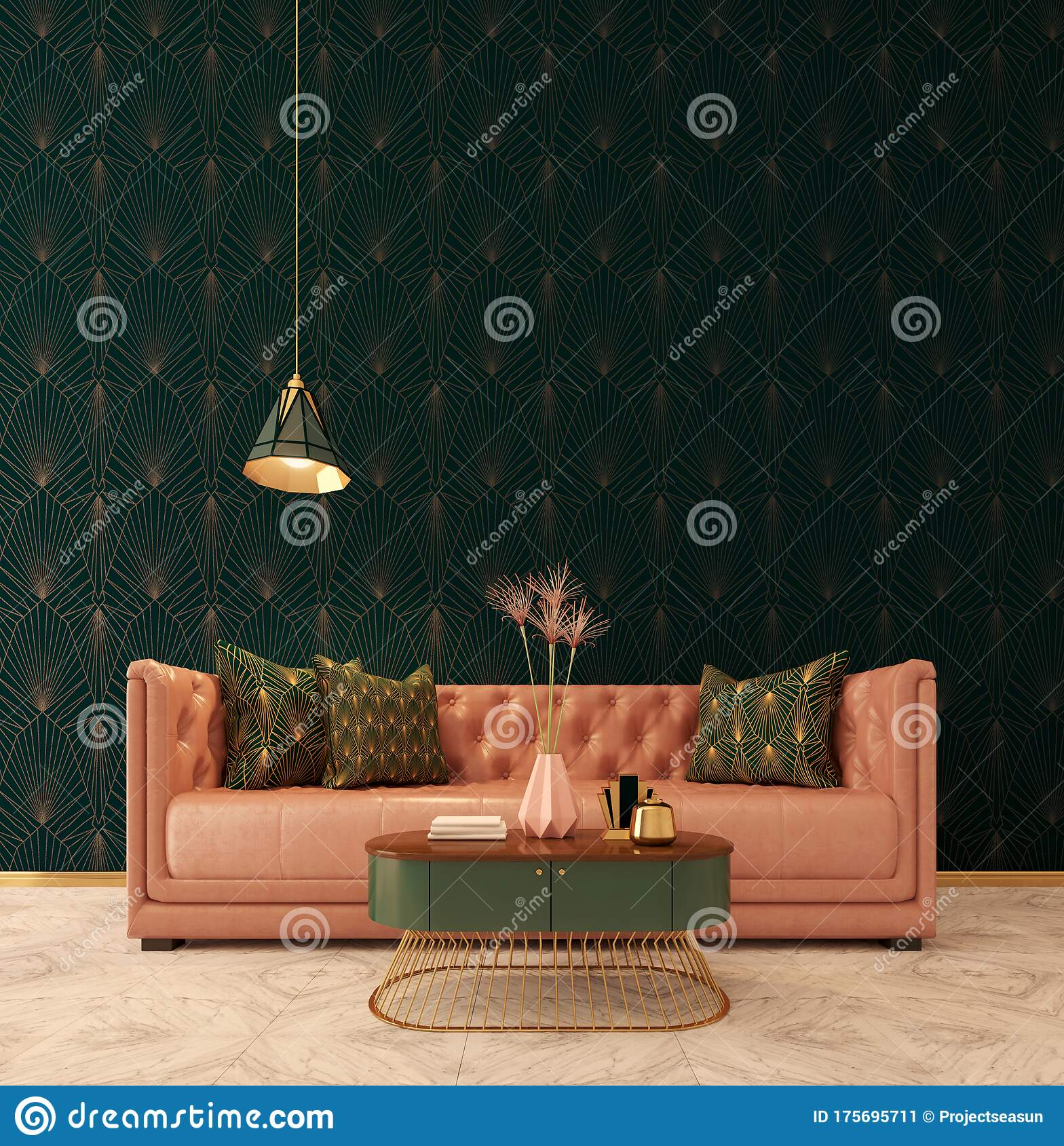 Classic Interior Art Deco Style Sofa With Lamp And Vase On Table Marble Floor Dark Green Wall With Art Deco Pattern Stock Illustration Illustration Of Hotel Furniture 175695711