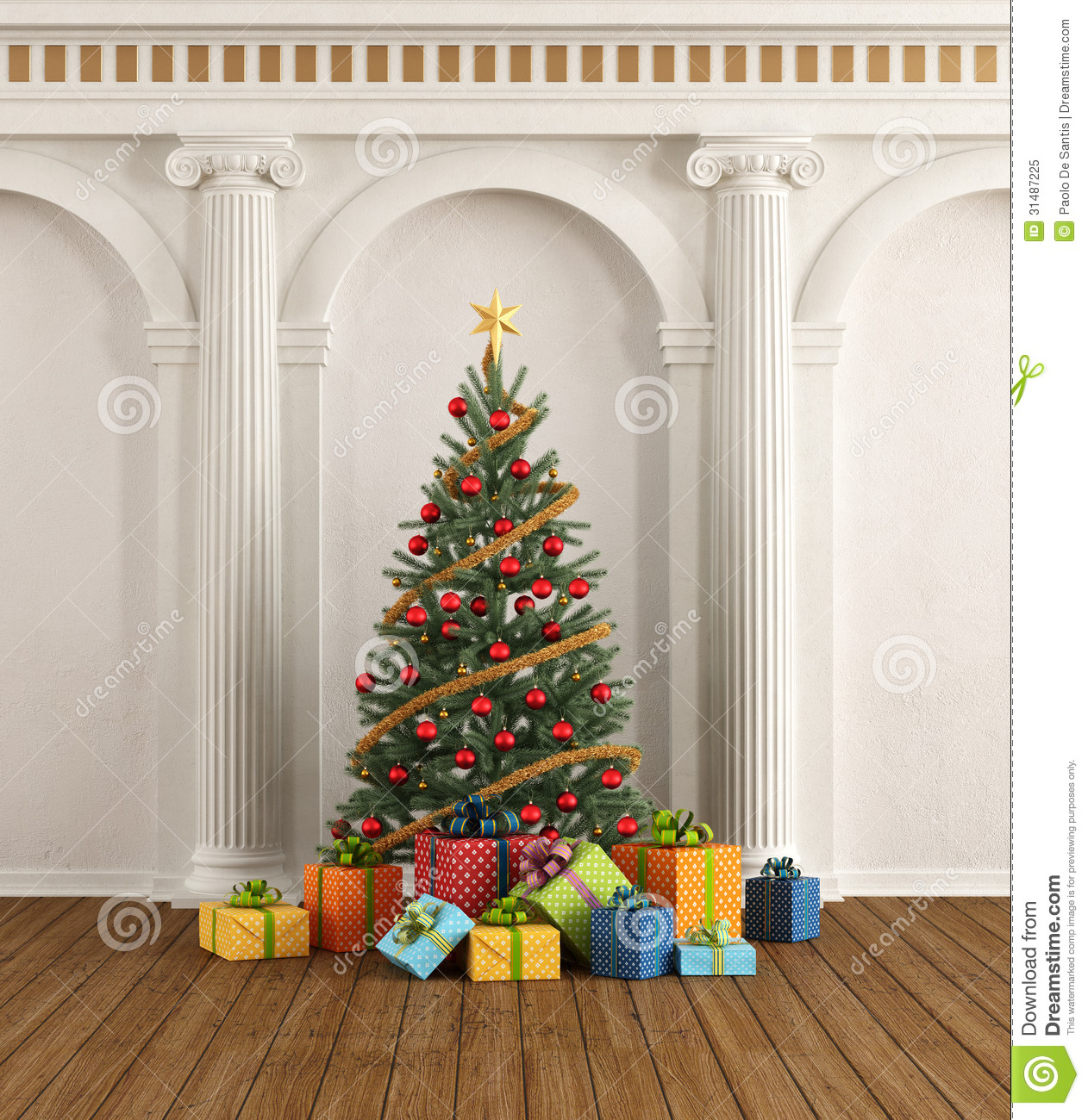 Classic Interior With Christmas Tree And Ionic Column