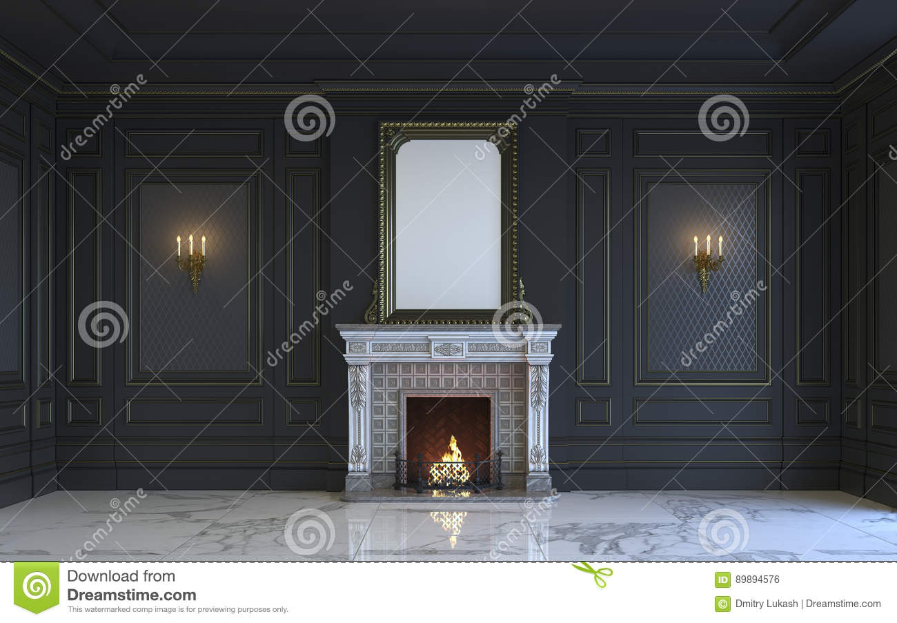 a classic interior is in dark tones with fireplace 3d rendering