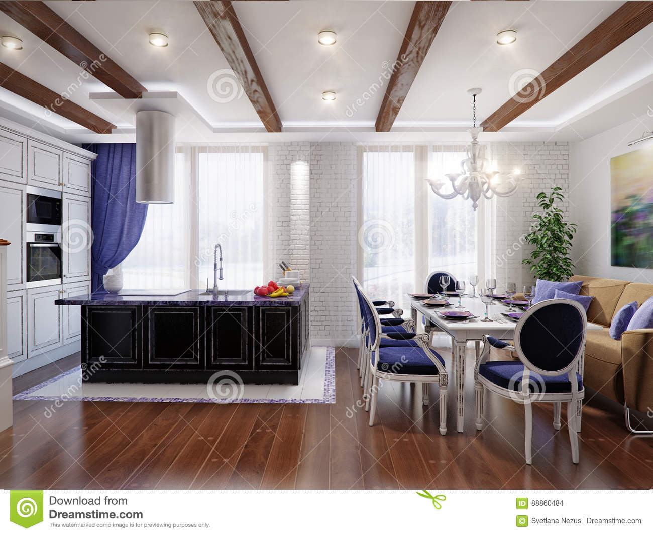 Download Classic Interior Design Of Dining Room And Kitchen Stock  Illustration   Illustration Of Cook,