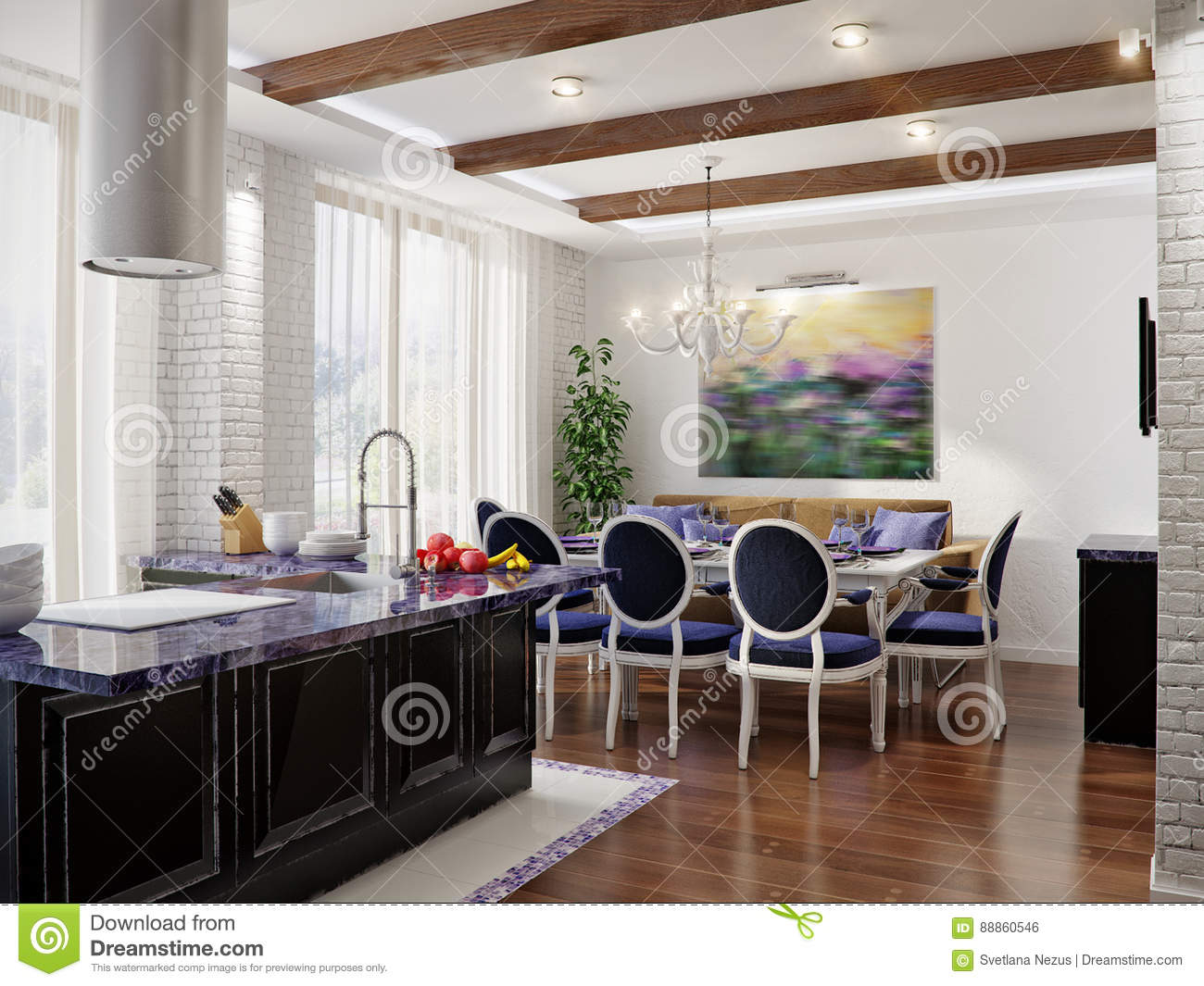 Marvelous Classic Interior Design Of Dining Room And Kitchen