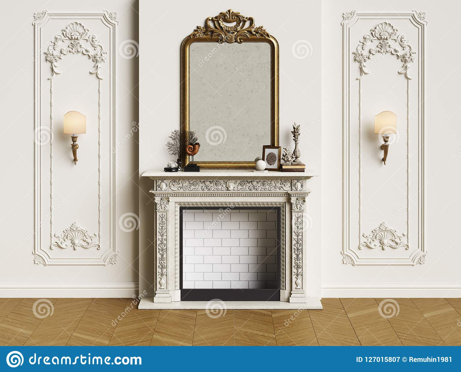 Classic Interior With Fireplace Stock Illustration Illustration Of Design Modern 127015807