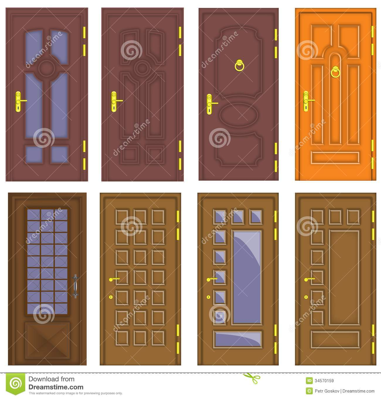 Classic interior and front wooden doors vector stock - Puertas de madera interiores modernas ...
