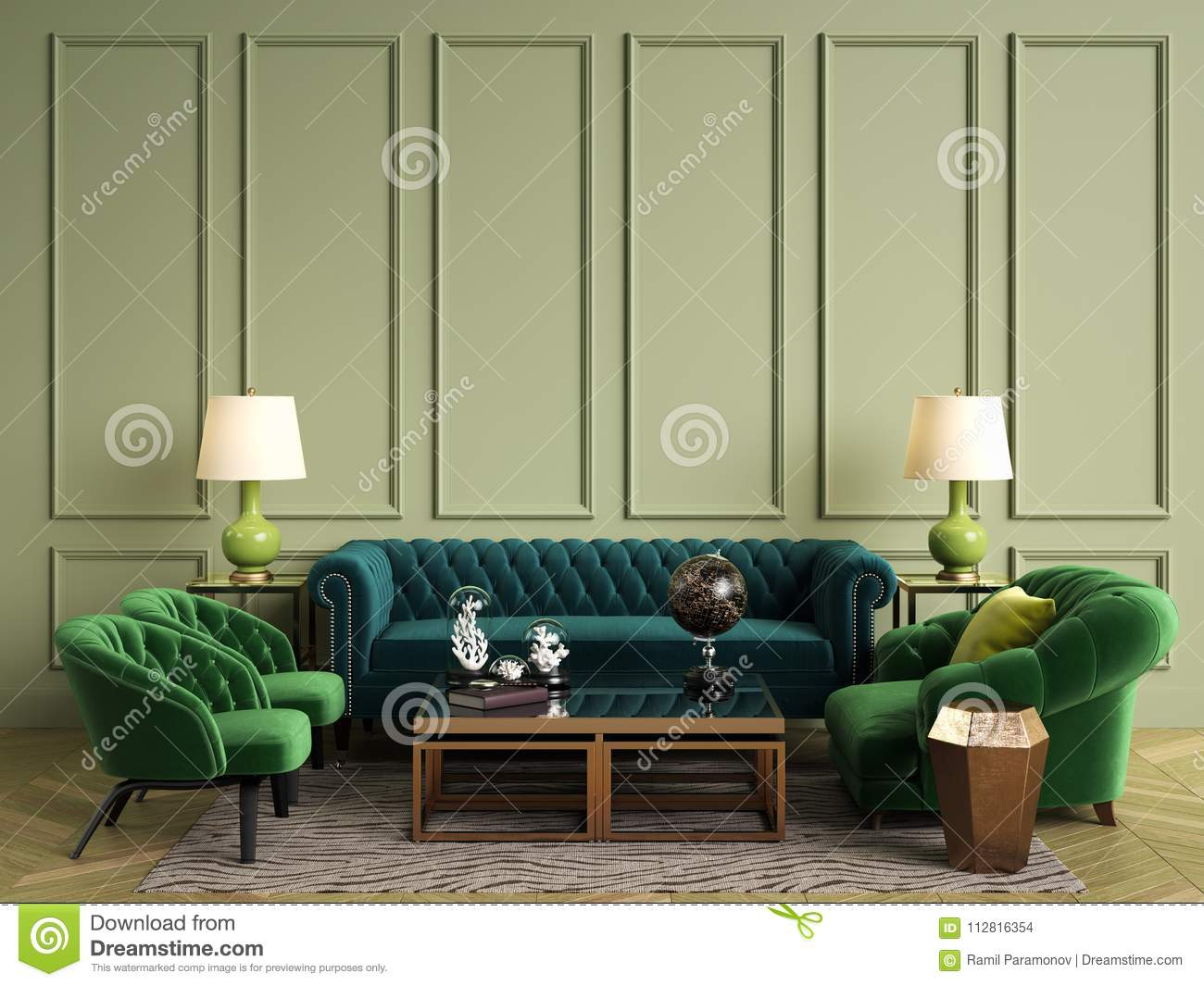 Classic interior in green colors sofachairssidetables with lampstable with decor olive walls with mouldings floor parquet herringbonerug with pattern