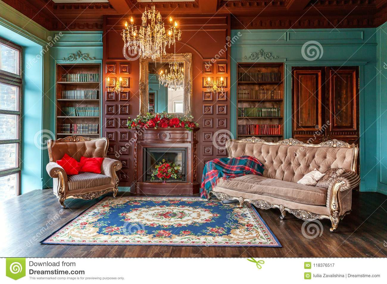 Classic Interior Of Home Library Stock Image Image Of