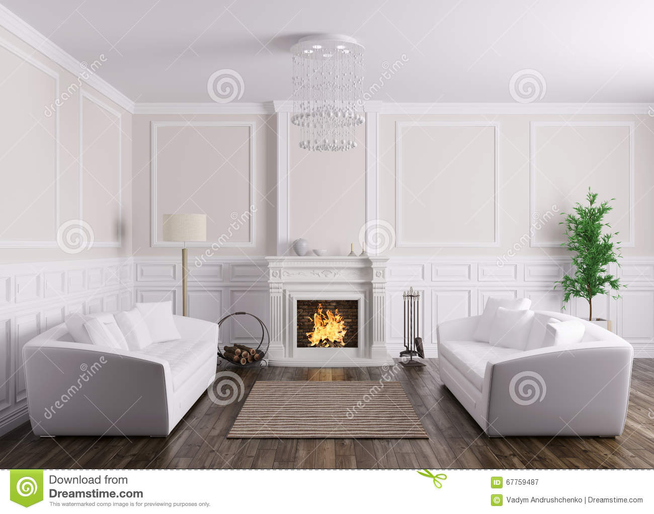 Classic Interior Of Living Room With Sofas And Fireplace