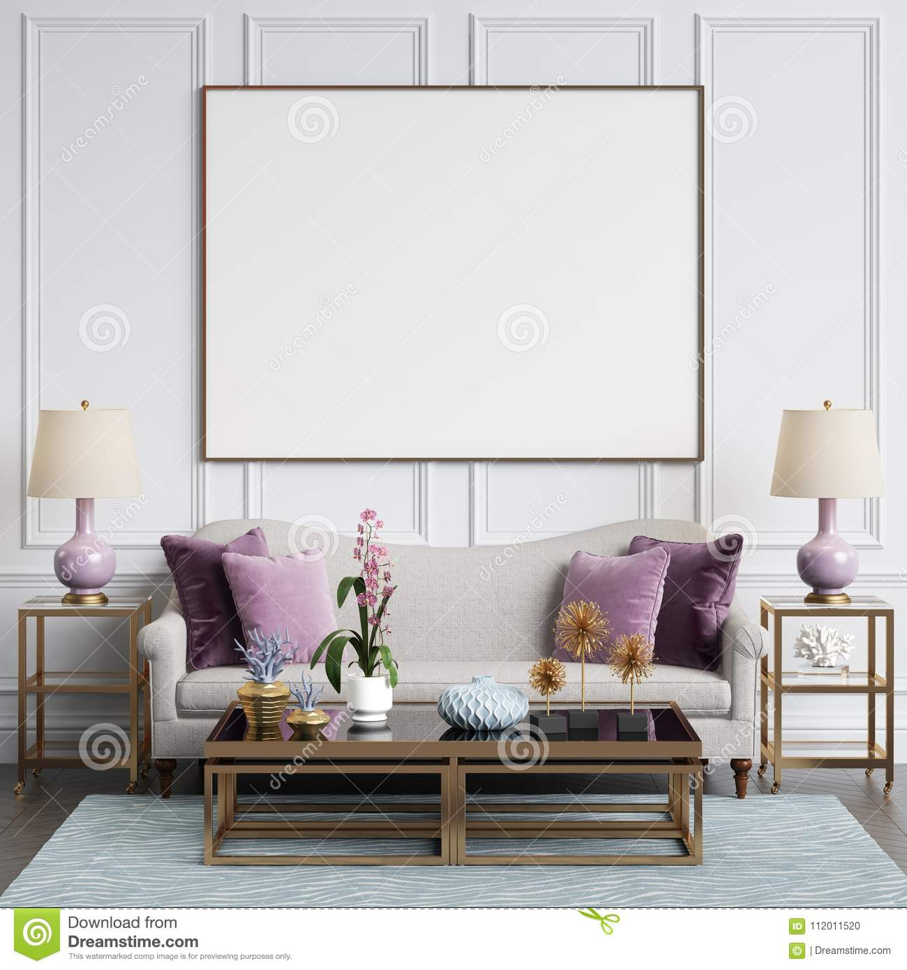 Classic interior in pastel colors with blank frame on the wall