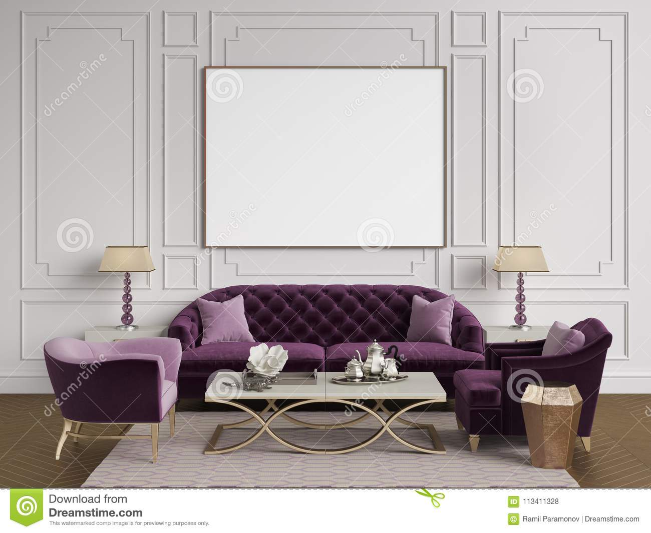 Classic Interior In Purple Pink And Goldcolors Sofa Chairs