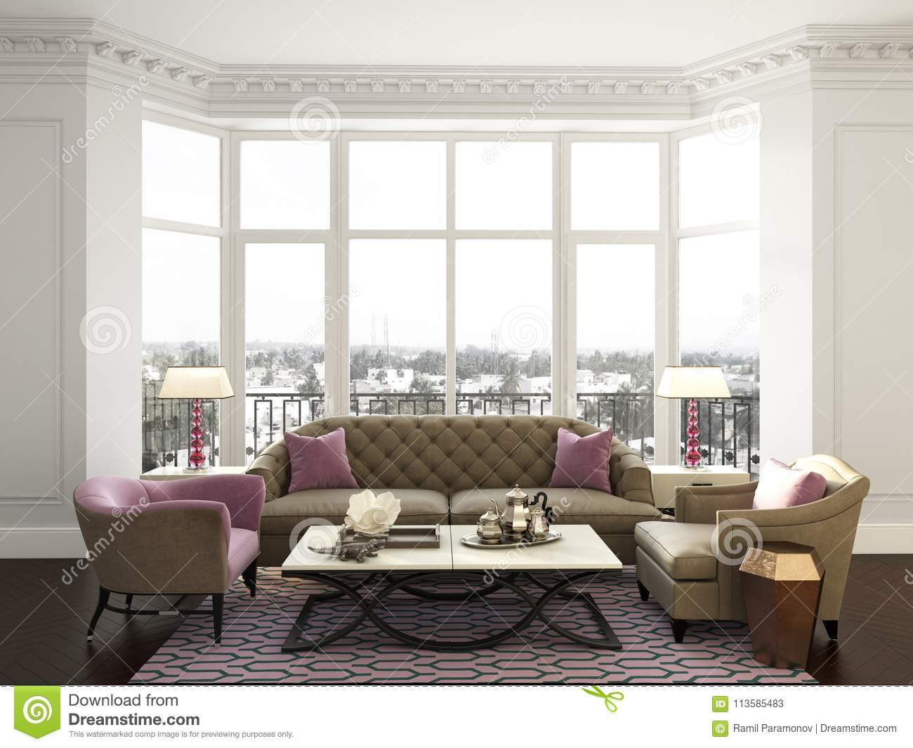 Classic Interior Room With Moulding,ornated Cornice And Big Wind ...