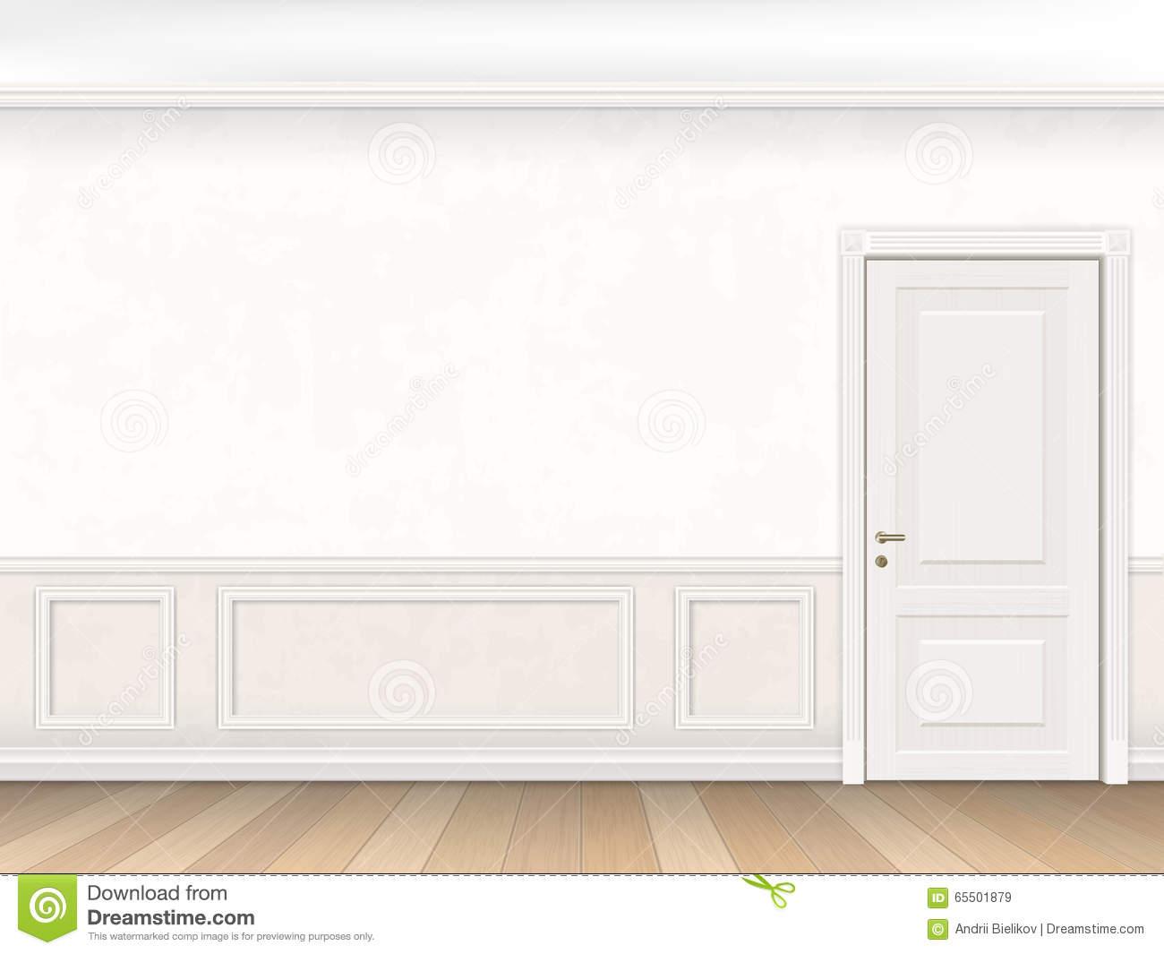 Classic Interior In White Color With Door Stock Vector