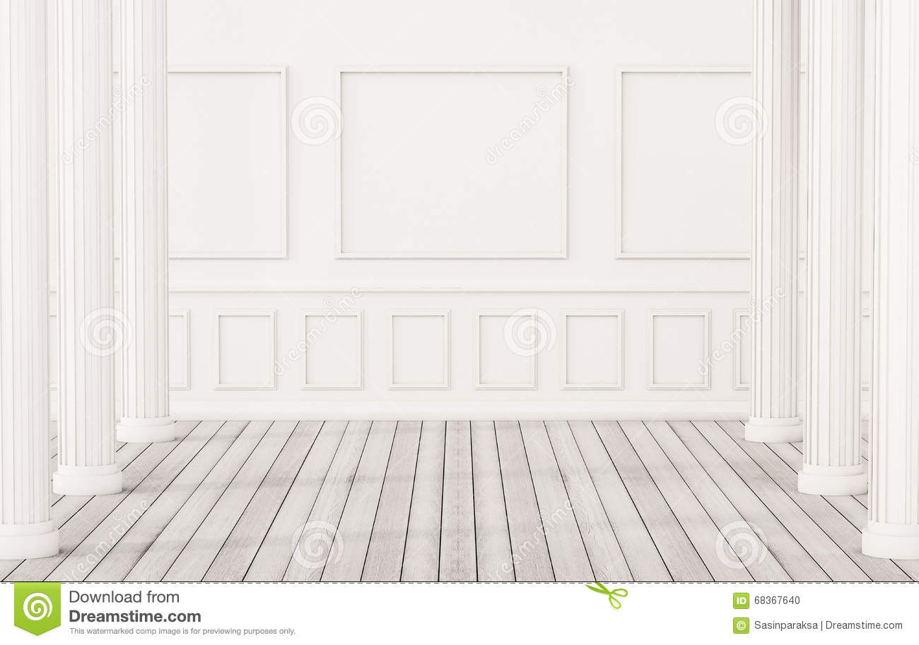 Classic interior white wood floor and white wall with for Floor pillars