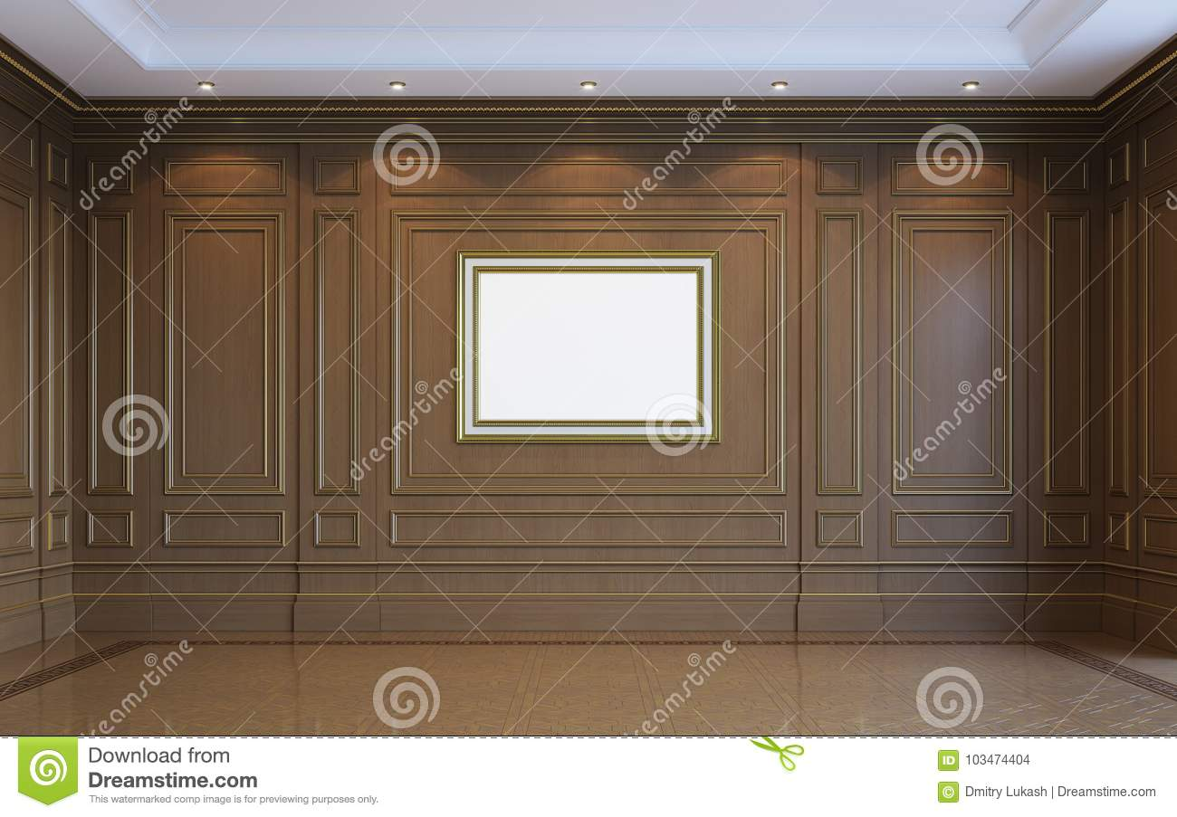 A Classic Interior With Wood Paneling 3d Rendering Stock Illustration Illustration Of Geometry Beautiful 103474404