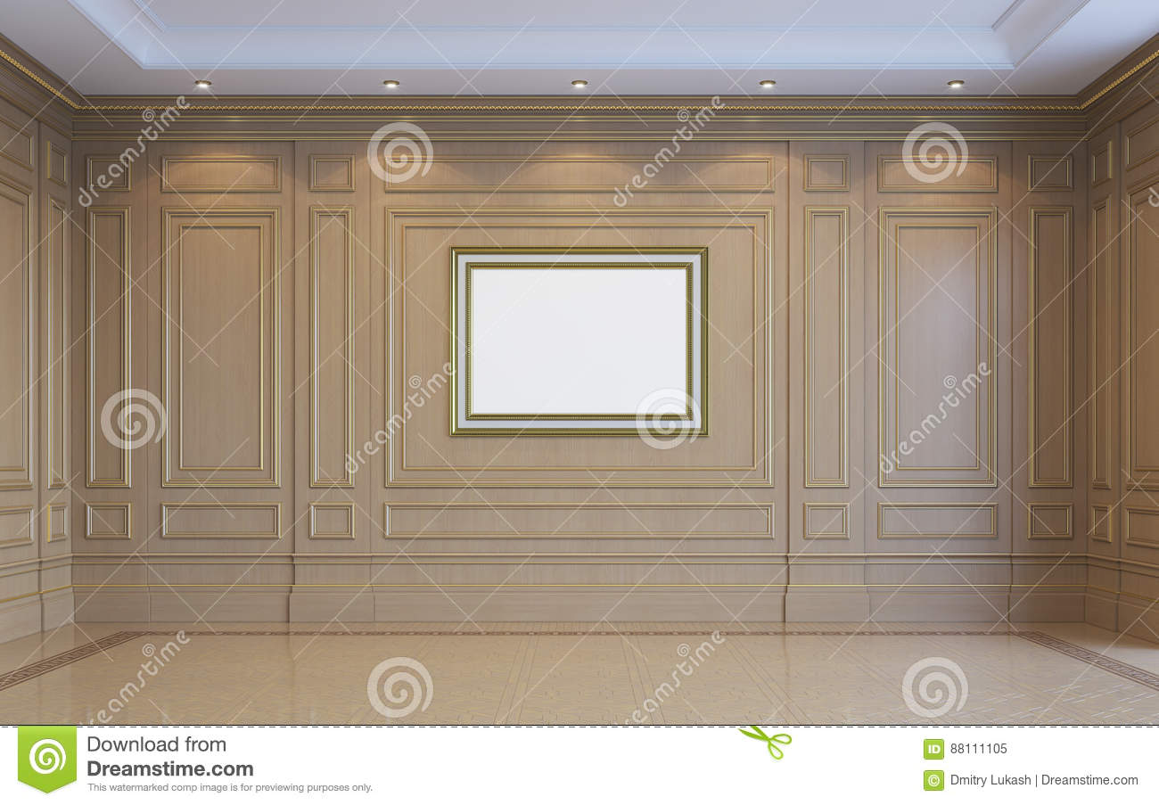 A Classic Interior With Wood Paneling. 3d Rendering. Stock ...