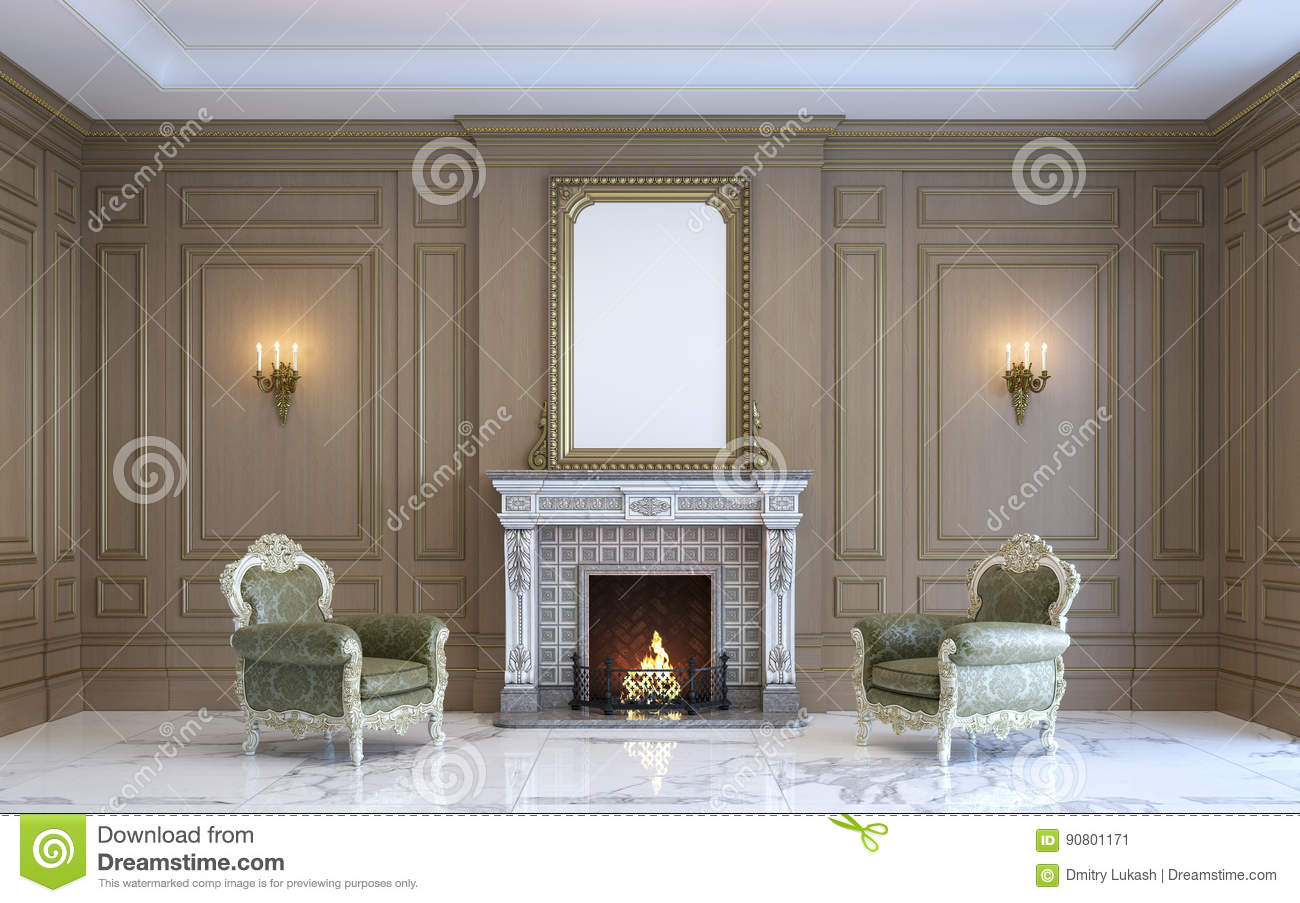 A Classic Interior With Wood Paneling And Fireplace. 3d Render ...