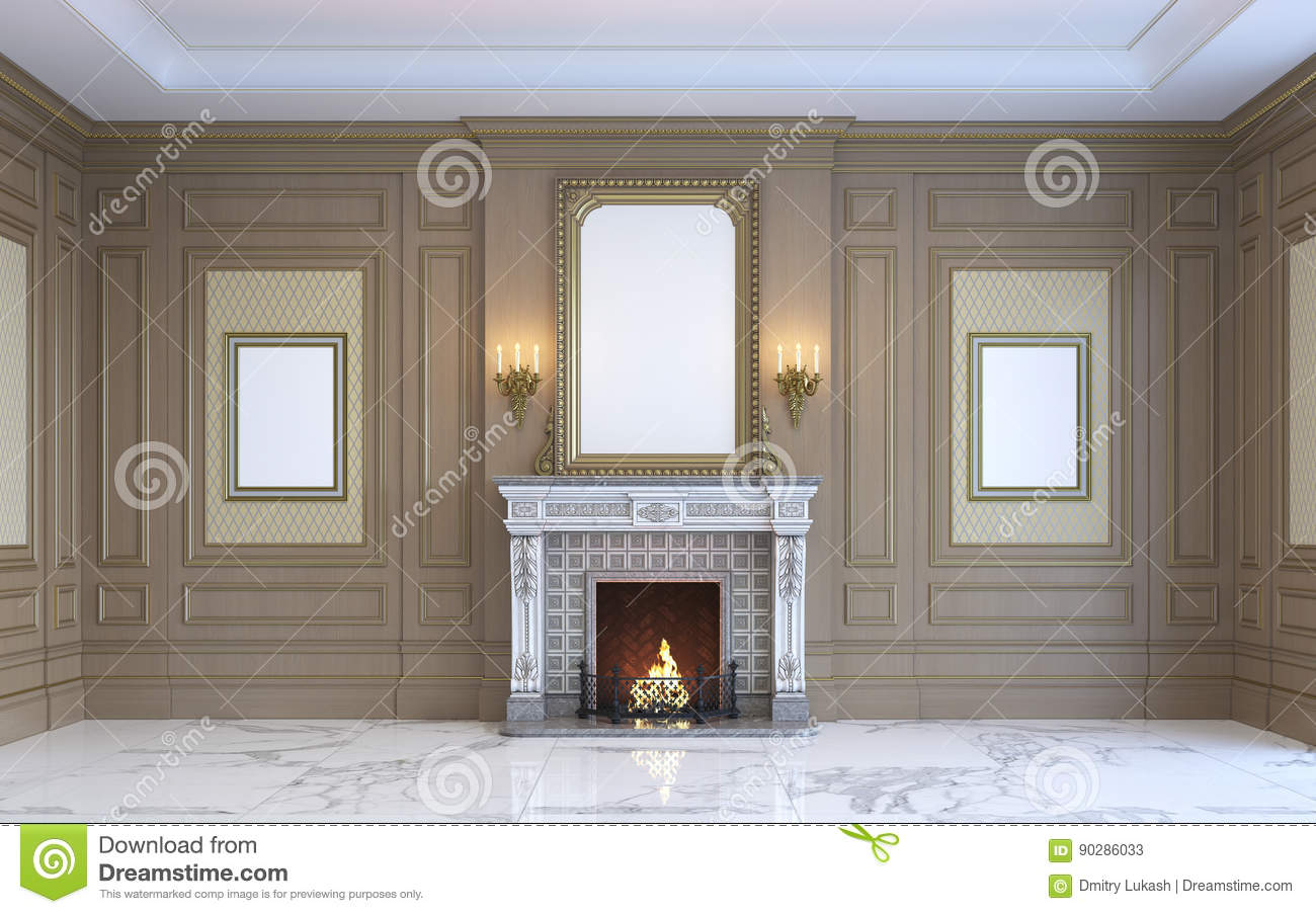 A Classic Interior With Wood Paneling And Fireplace. 3d Rendering ...