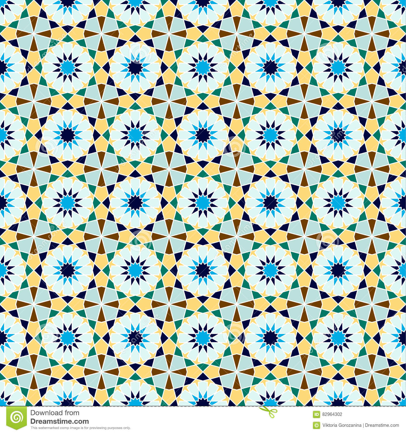 Blue Mosaic Vector Seamless Pattern Vector Illustration