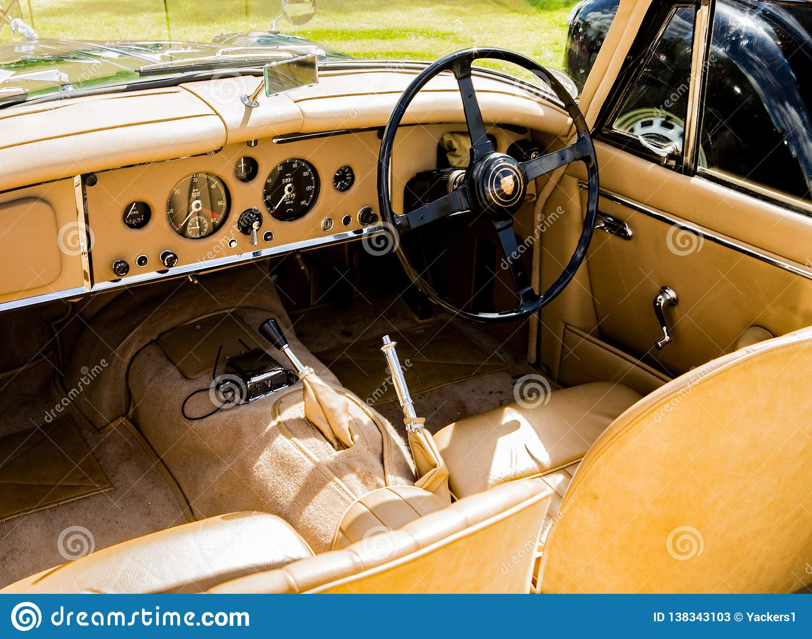 Classic Jaguar Car Leather Interior Editorial Stock Photo Image Of Wheel Beige 138343103