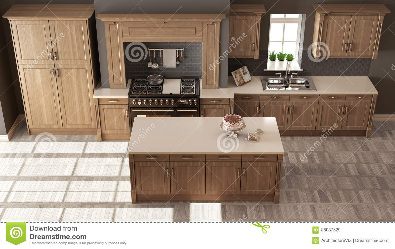 Classic Kitchen Elegant Interior Design With Wooden Details To Royalty Free Stock Photo