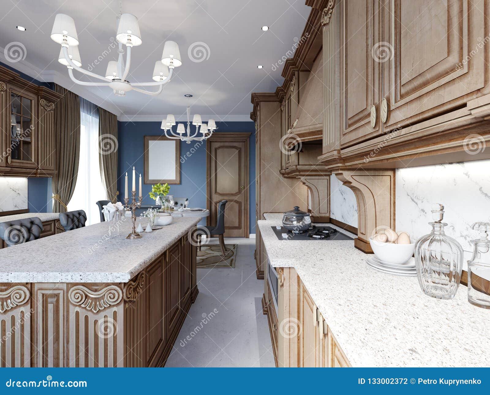 Classic Kitchen Interior Design Ideas Oak Wood Texture Stock