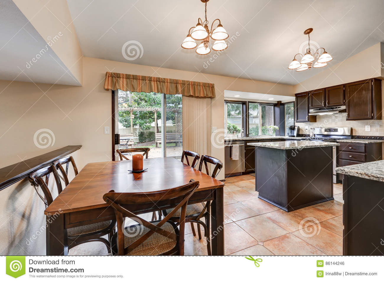 Classic Kitchen Room Design With Kitchen Island Stock Photo Image