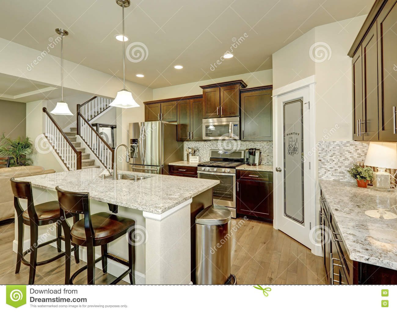 Kitchen Granite Island Wood Classic Large Kitchen With Granite Island Royalty Free Stock