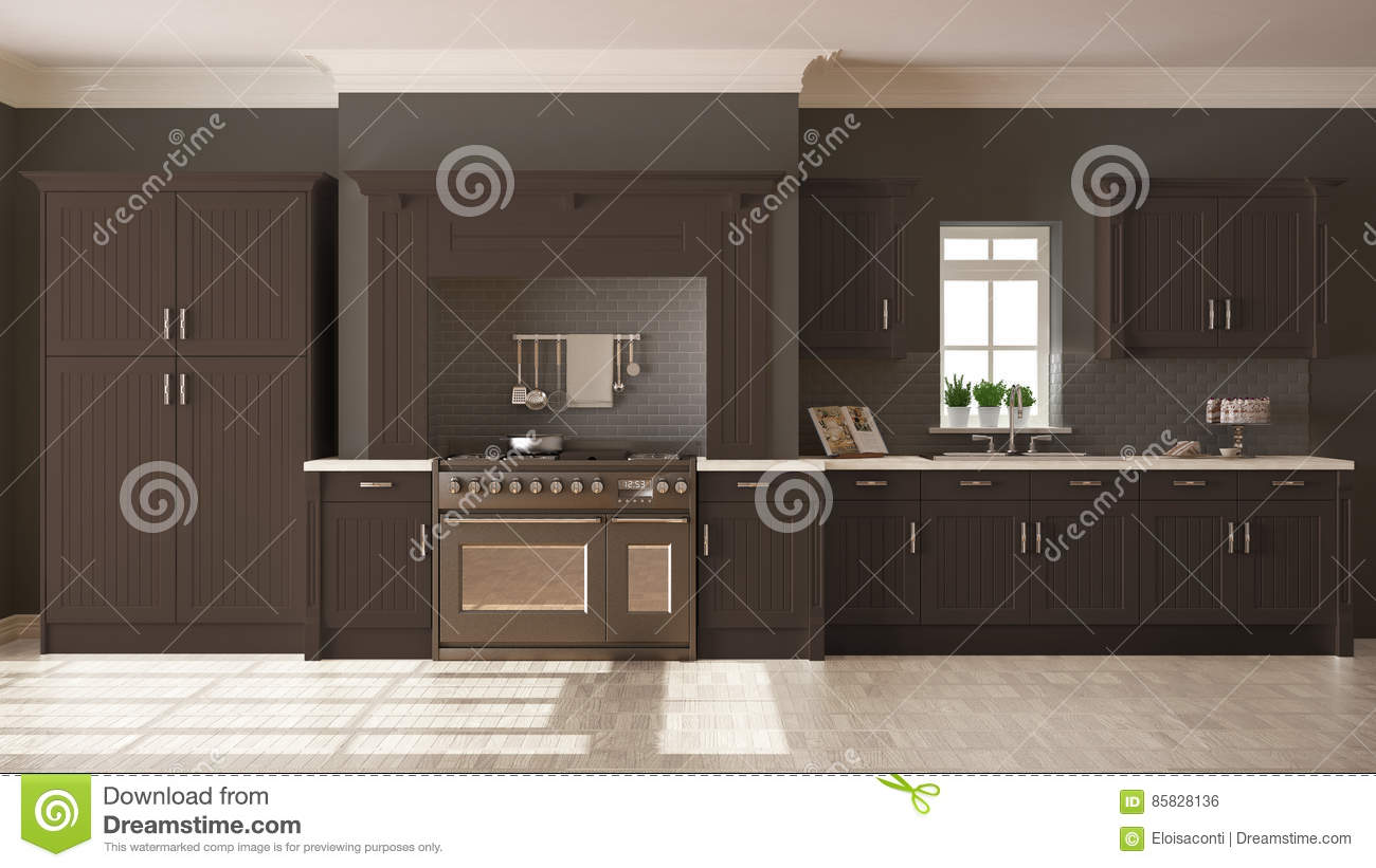 Scandinavian Classic Kitchen With Wooden And White Details Mini Royalty Free Stock Photography