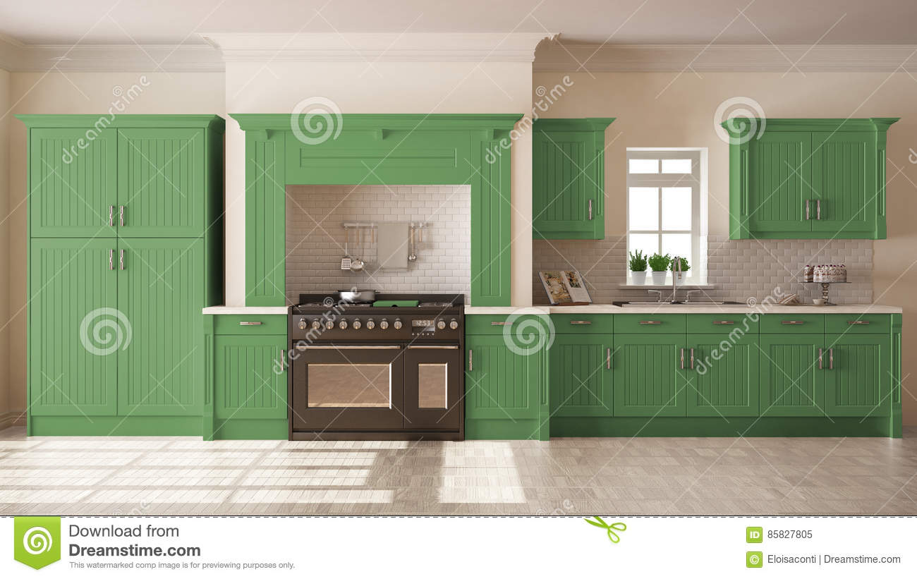Classic Kitchen Scandinavian Minimal Interior Design With Woode Stock Image