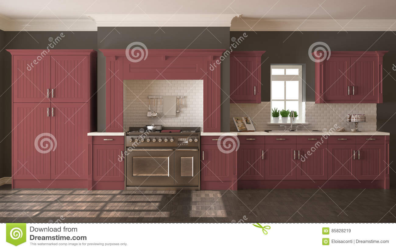 Scandinavian Classic Kitchen With Wooden And Red Details Minima Royalty Free Stock Photo