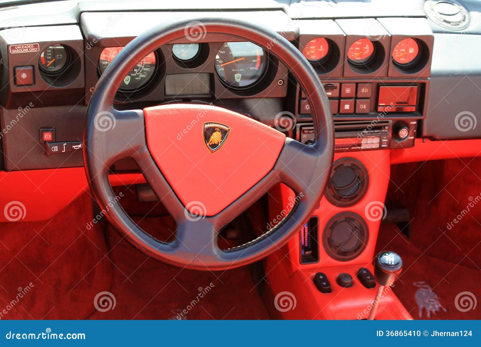 classic lamborghini cockpit interior editorial image 51166822. Black Bedroom Furniture Sets. Home Design Ideas