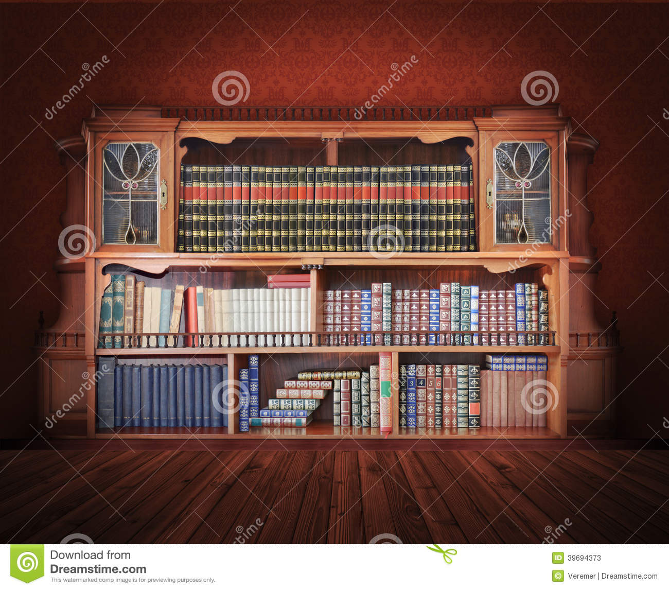 """""""classic library. antique furniture"""" stok gorseller ve telif."""