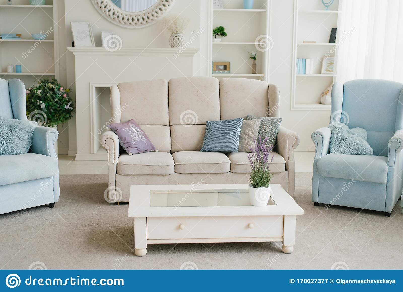 Light Blue Living Room Decor  from thumbs.dreamstime.com