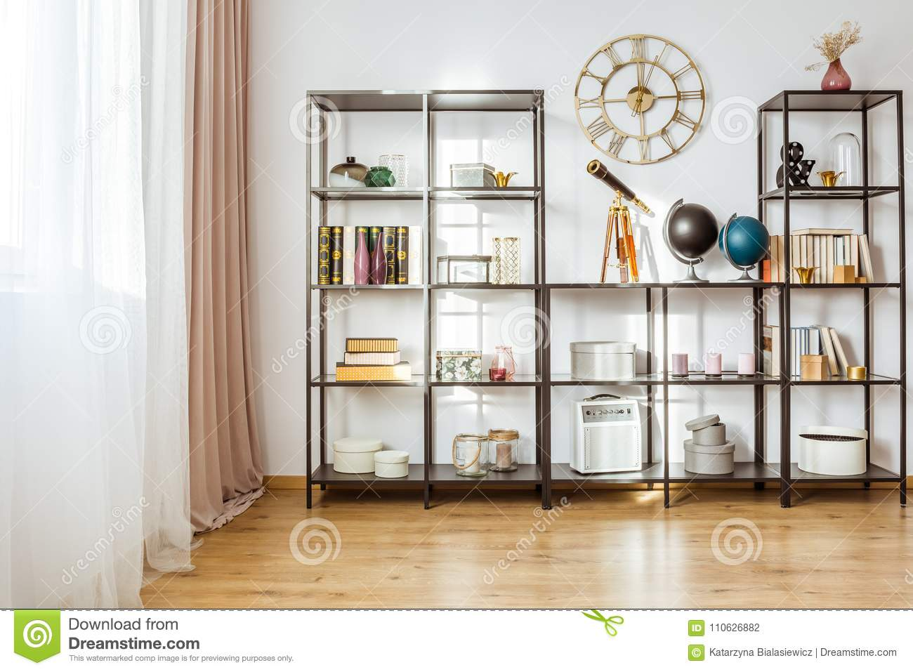 Classic Living Room With Clock Stock Photo - Image of rack, drapes ...