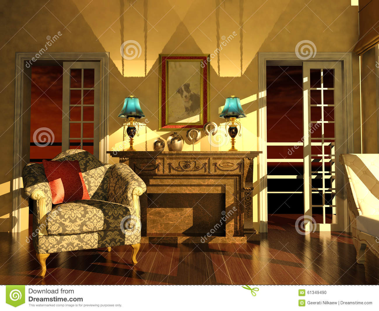 classic living room interior in dusk light stock illustration royalty free illustration