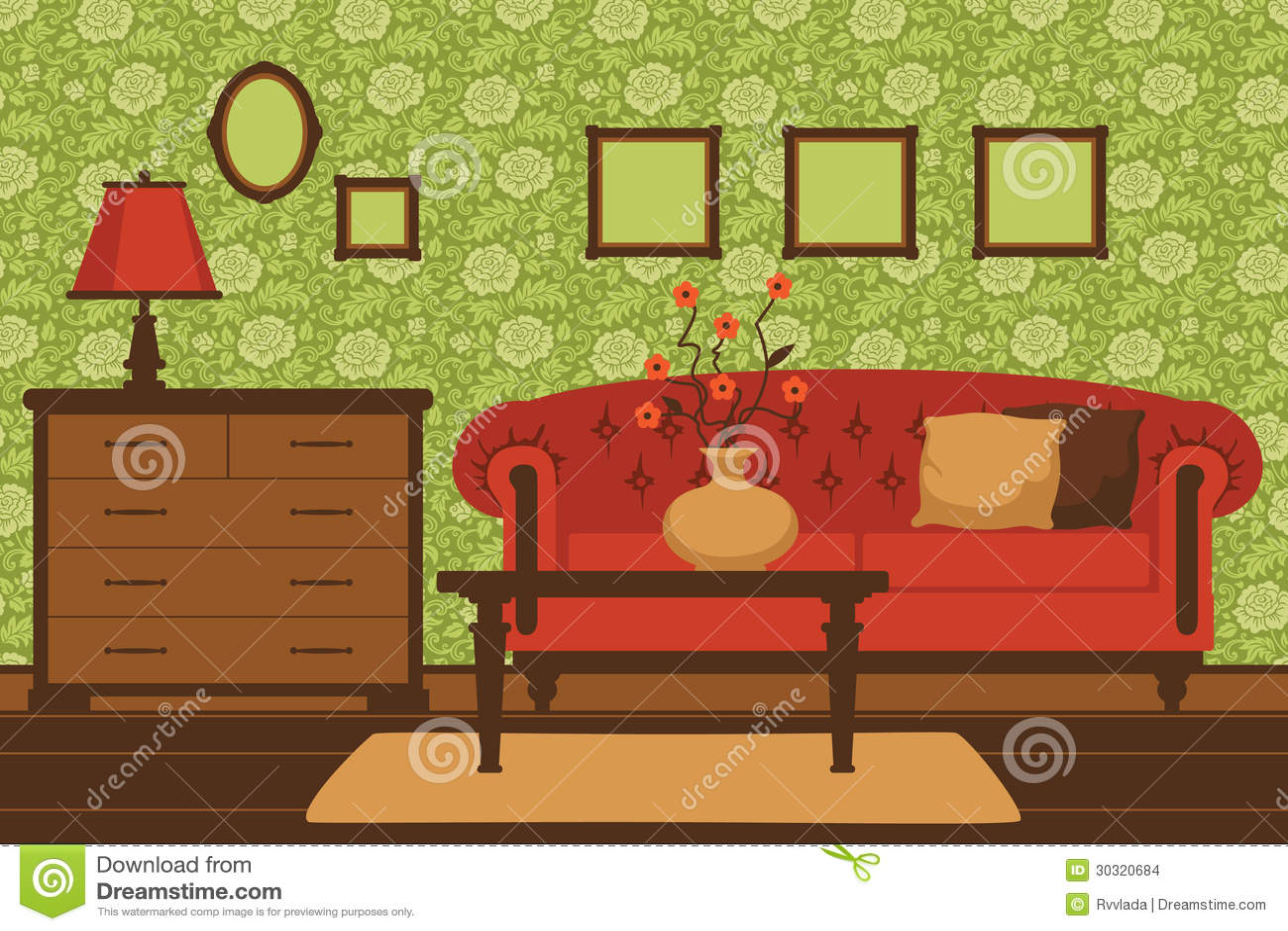 Classic Living Room Interior Stock Vector Illustration Of