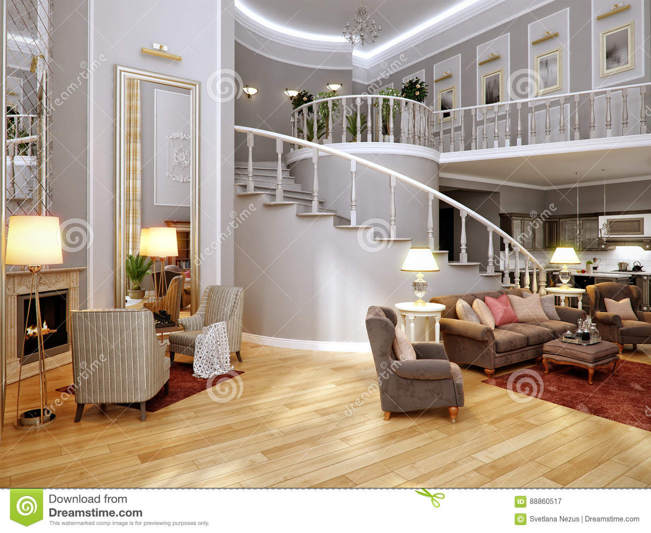 Classic Living Room Kitchen And Dining Interior Design With Gray Walls Big Mirrors Fireplace 3d Rendering