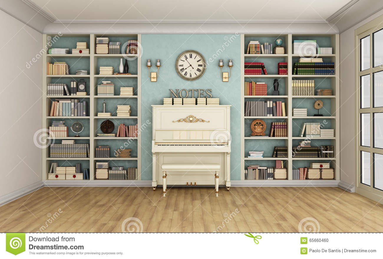 classic livingroom with upright piano and bookcase stock illustration illustration 65660460. Black Bedroom Furniture Sets. Home Design Ideas