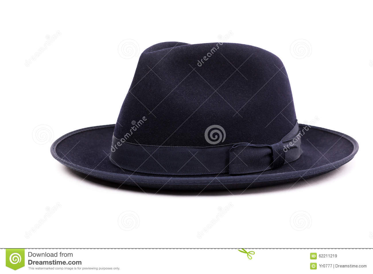 65f27f2ae13 A Classic Low Crown Fedora Hat In A Dark Blue Color. Stock Image ...