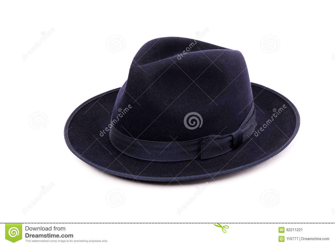 A Classic Low Crown Fedora Hat In A Dark Blue Color. Stock Image ... 946e7e5c4ab