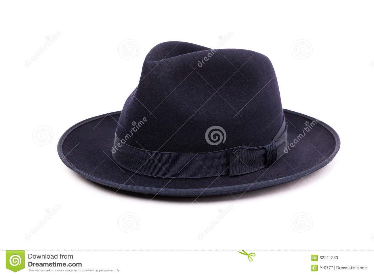 A Classic Low Crown Fedora Hat In A Dark Blue Color. Stock Photo ... aea77a82f58