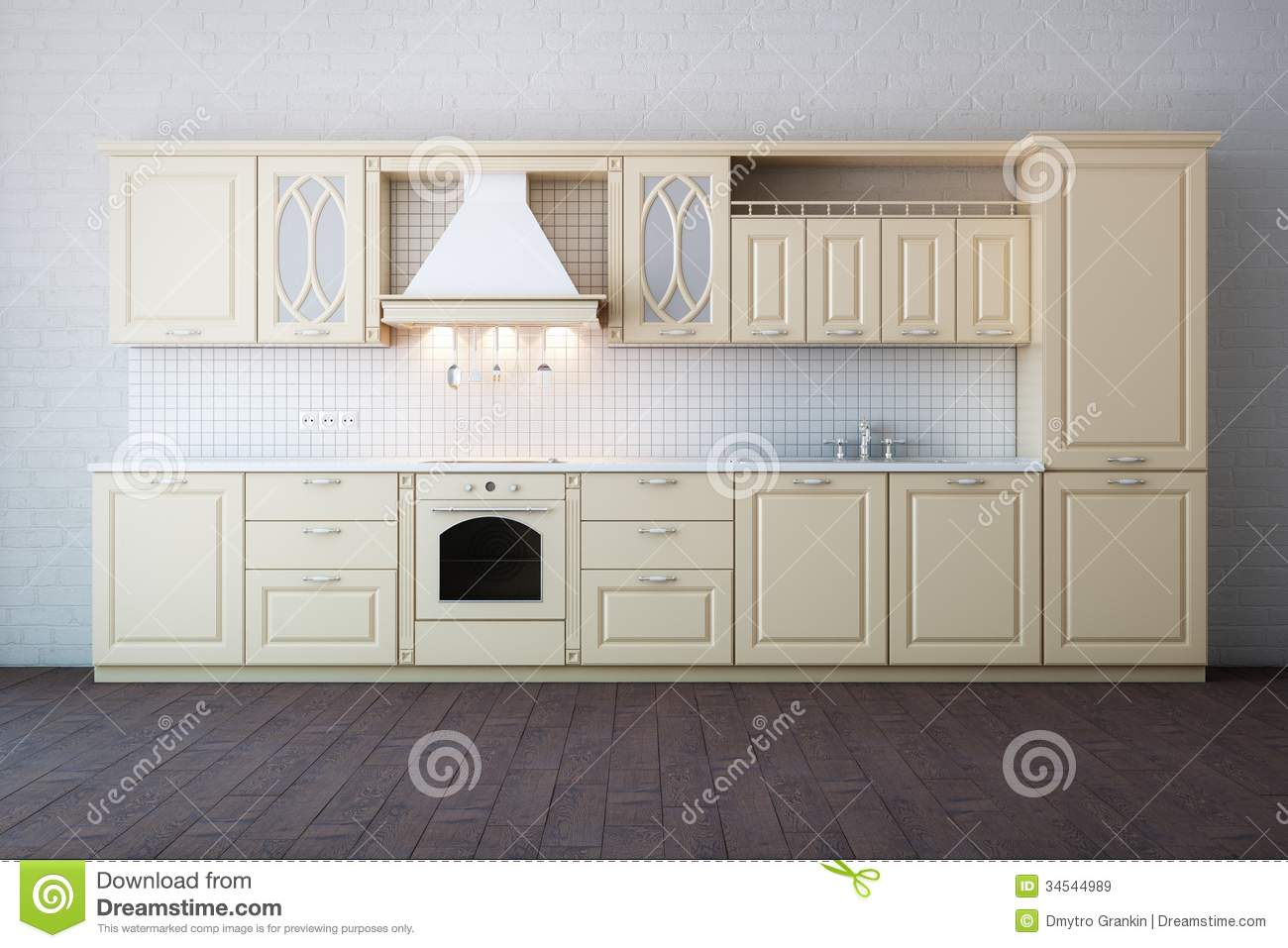 Classic Luxury Beige Kitchen Cabinet